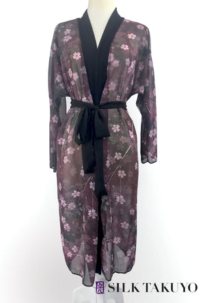 Sheer Long Kimono, L/XL, IN -STOCK, Maroon Night Cherry Blossom
