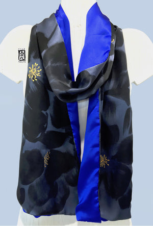 Long Reversible Charmeuse Scarf, Black Geisha Peony in Blue and Gray