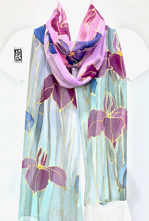 Long Silk Chiffon Oblong Scarf, Evening Purple Iris