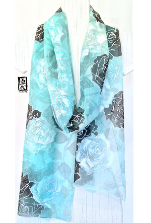 Long Silk Chiffon Scarf, Mint Green Winter Roses