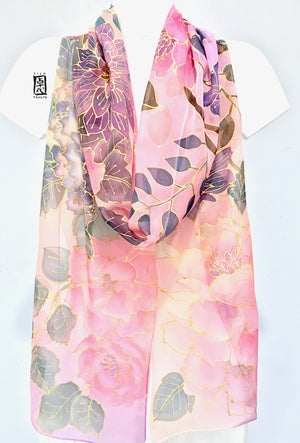 Long Silk Chiffon Scarf, Pink and Purple Spring Peony Festival