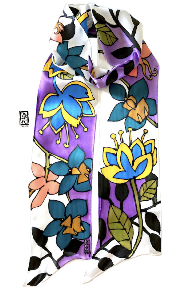 Long Skinny Scarf, Purple Tropical Floral