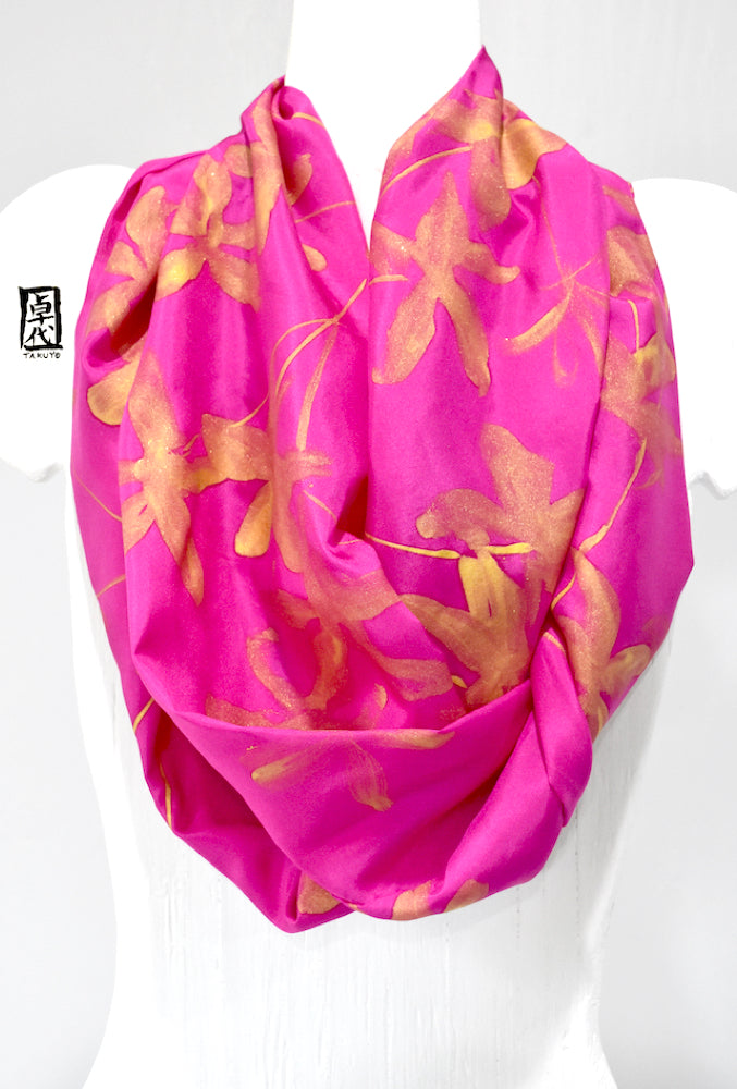 Loop Scarf Silk, Pink and Gold Day Lily