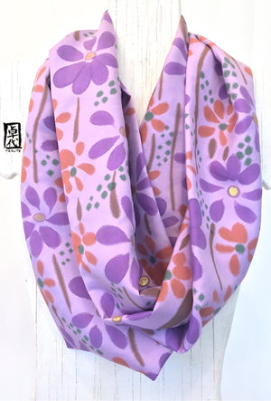 Loop Scarf Silk, Purple Wildflower