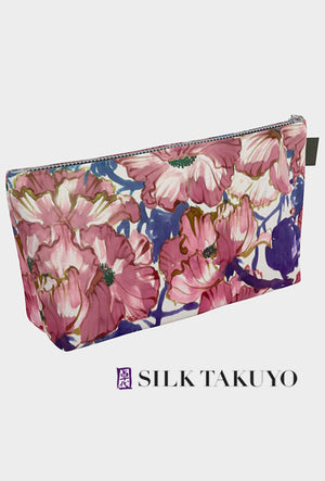Make Up Bag Dusty Rose Pink Watercolor Flowers