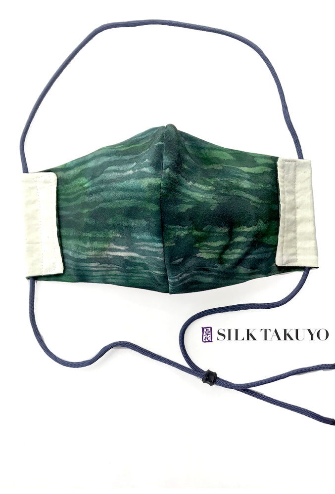 Mens Hand Painted Silk Green, Zen Hawaiian Pine Forest