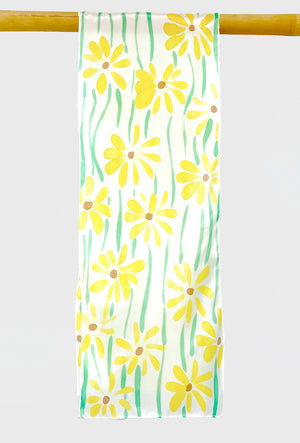 Oblong Silk Scarf, Yellow Meadow Daisy
