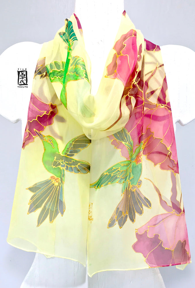 Pastel Yellow Chiffon Scarf, Hummingbirds in sunshine