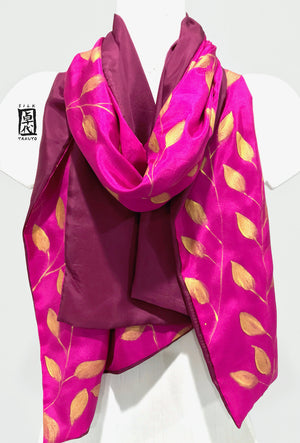 Pink Silk Shawl Wrap, Golden Vine, Reversible Plum