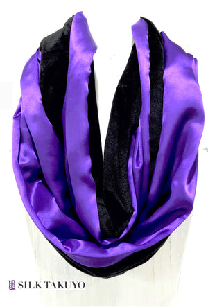 Plush Cuddly Loop Scarf Reversible with Silk Charmeuse, Purple and Black