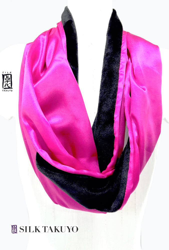 Plush Cuddly Scarf in Pink and Black with Silk Charmeuse Reversible