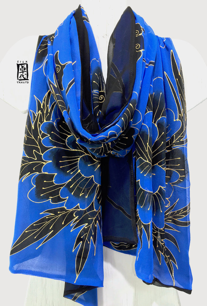 Pure Silk Evening Shawl Wrap, Kimono Floral Reversible in Blue and Black
