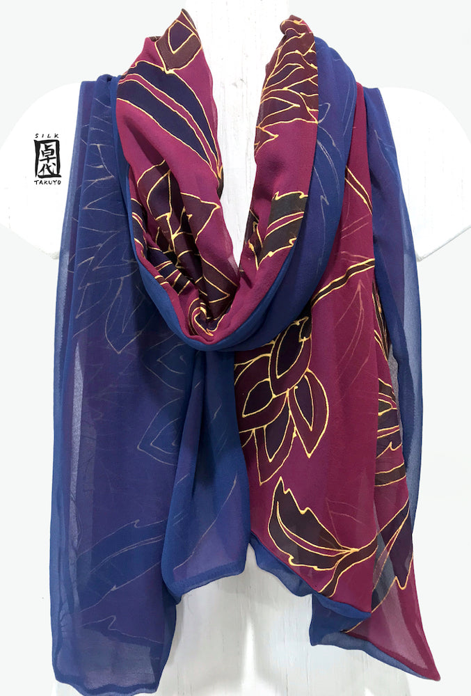Pure Silk Evening Shawl Wrap, Kimono Floral Reversible in Dark Plum and Navy