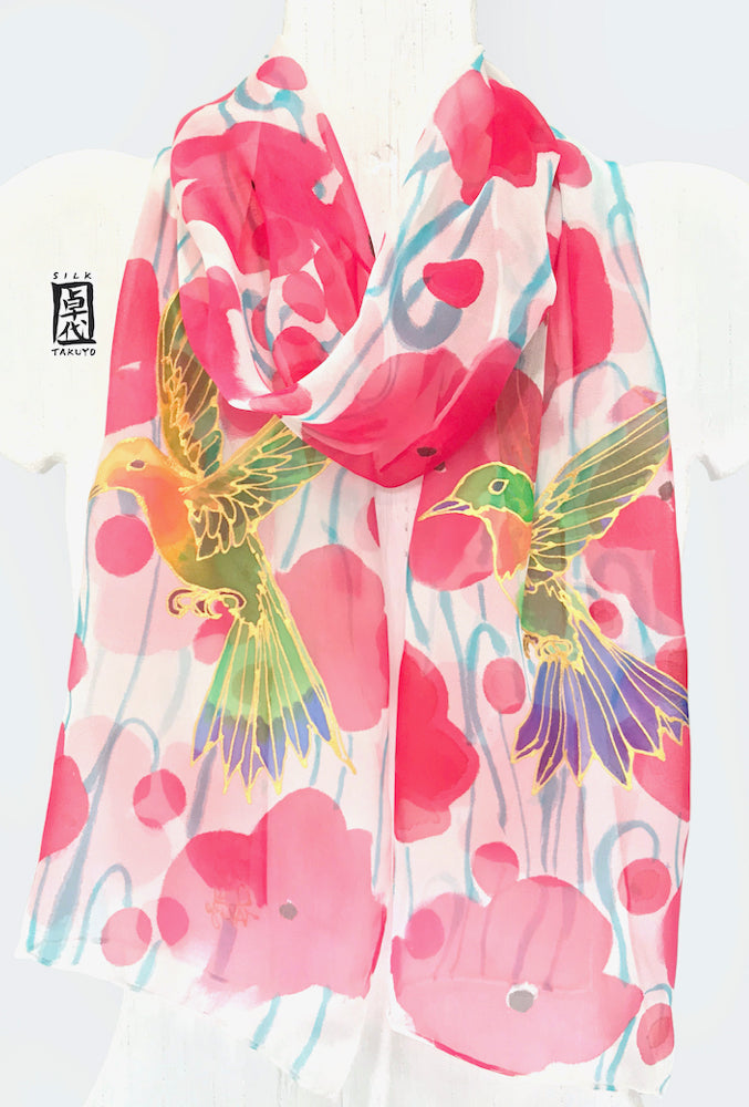 Red Chiffon Scarf, Hummingbirds in Red Poppy Field