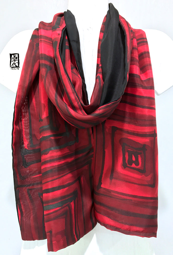Black and Red Zen Temple Pavestone Scarf