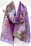Reversible Kimono Scarf, Purple and Gold Floral