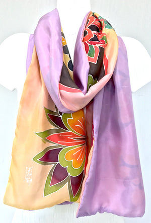 Reversible Scarf, Yellow and Lavender Kimono Butterfly