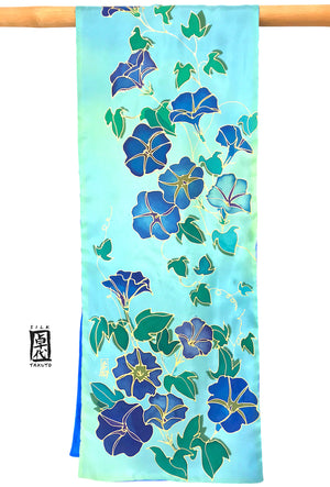 Reversible Silk Scarf, Blue and Green Morning Glory Vines