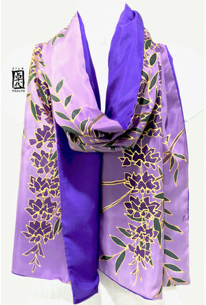 Reversible Silk Scarf, Cascading Wisteria in Purple and Gold