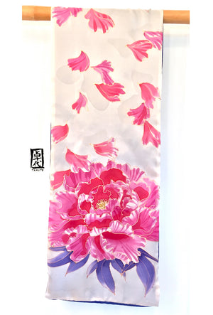 Reversible Silk Scarf, Pink and Navy Blossoming Peony