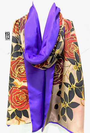 Reversible Silk Scarf, Red Roses and Black Orchid, Beige and Purple
