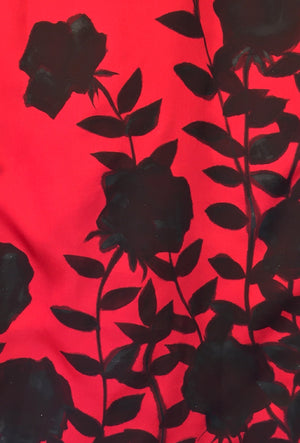 Reversible Silk Scarf, Red and Black Roses