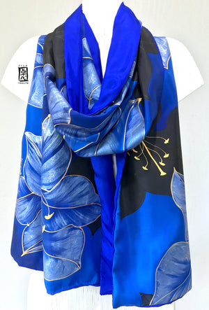 Reversible Silk Shawl, Blue and Gold Kimono Lily
