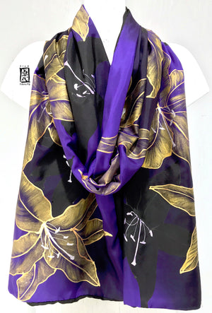 Reversible Silk Shawl Wrap, Golden Lily Flowers in Purple
