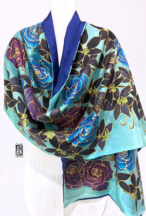 Reversible Silk shawl wrap, Winter Blue Rose and Orchid