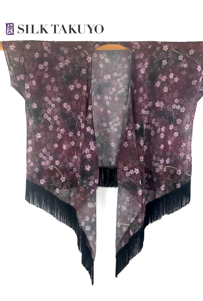 Sheer Floral Fringe Kimono Maroon Brown, Night Cherry Blossoms