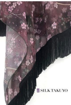 L/XL, In Stock, Sheer Floral Fringe Kimono Maroon Brown, Night Cherry Blossoms