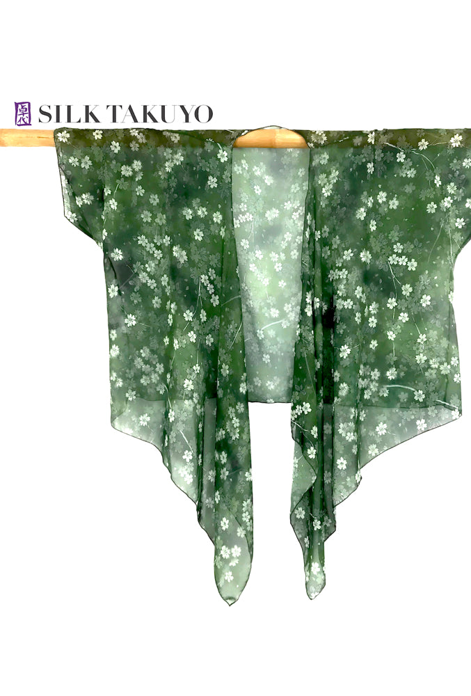 Sheer Kimono Cardigan Green, Night Sakura Festival, In Stock, L/XL