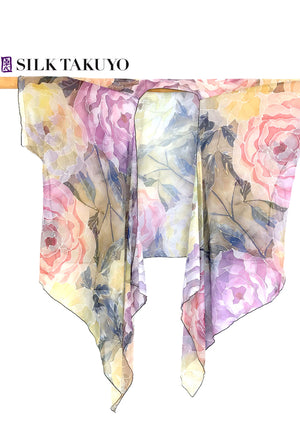 Sheer Kimono, Vintage Peony in Brown