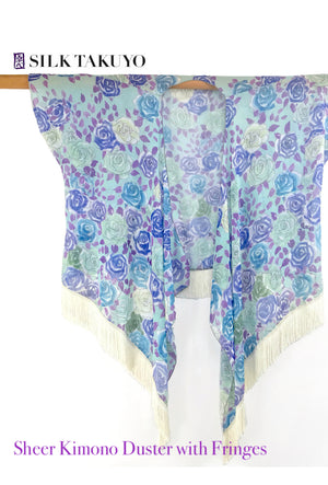 Sheer Kimono cardigan Mint Green and Blue, Kyoto Rose