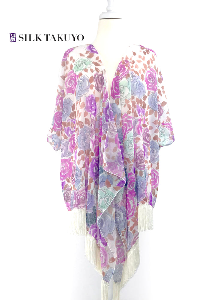 Sheer Kimono cardigan Pink and Purple, Kyoto Rose