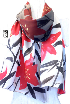 Silk Charmeuse Scarf, Red Lily