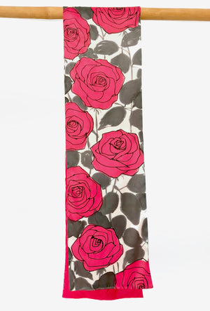 Silk Charmeuse Scarf, Red Roses