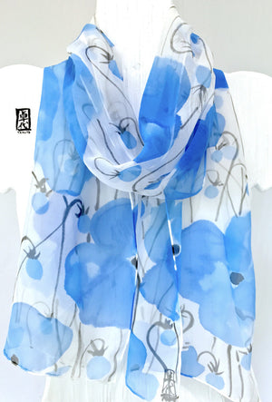 Silk Chiffon Scarf, Blue Poppy