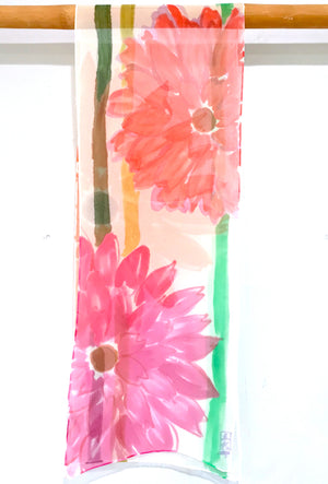 Silk Chiffon Scarf, Pink and Orange Garbera Daisy