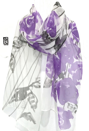 Silk Chiffon Scarf, Purple Rose