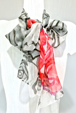Silk Chiffon Scarf, Red and Gray Roses