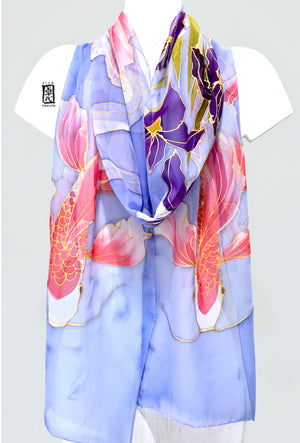 Silk Chiffon scarf, Koi and Iris