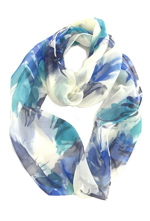 Silk Circle Scarf, Blue Feathers