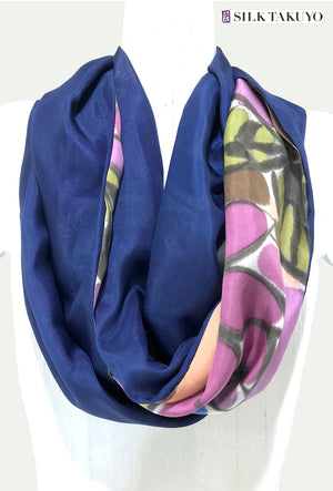 Silk Circle Scarf Navy Blue, Purple Kimono Floral Design
