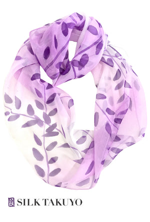 Silk Circle Scarf, Purple Ombre Vine