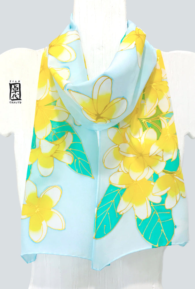 Silk Crepe Scarf Blue, Yellow Plumeria