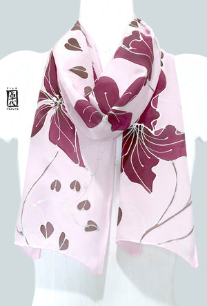 Silk Crepe Scarf, Clematis Vine in Plum and Pastel Pink