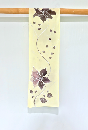 Silk Crepe Scarf, Silver Clematis Vine in Brown