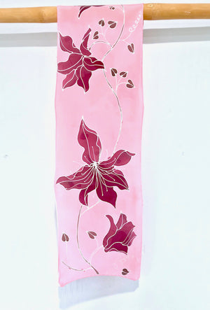 Silk Crepe Scarf, Silver Clematis Vine in Pink and Plum Red