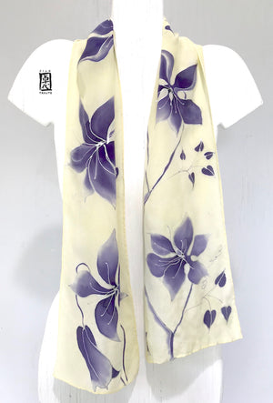 Silk Crepe Scarf, Silver Clematis Vine in Purple Gray